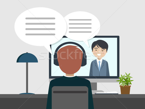 Two people talking by videoconference Stock photo © Imaagio