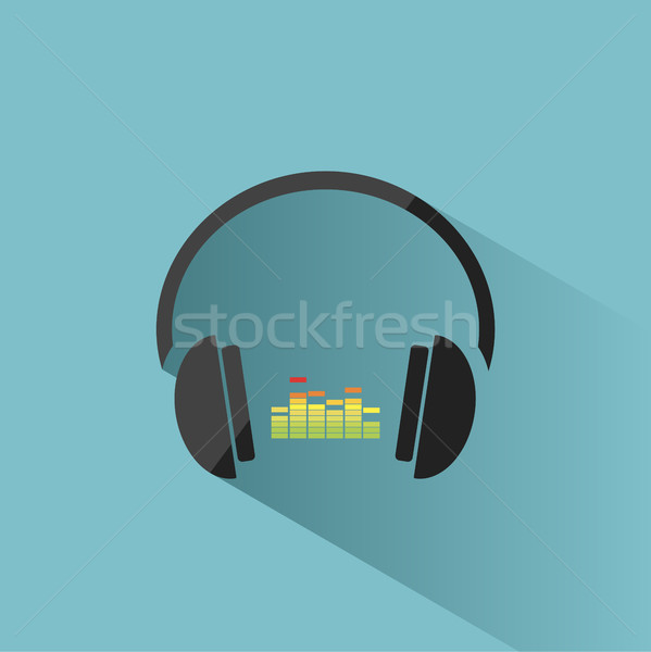 Color headphones with music icon on blue background and shadow Stock photo © Imaagio