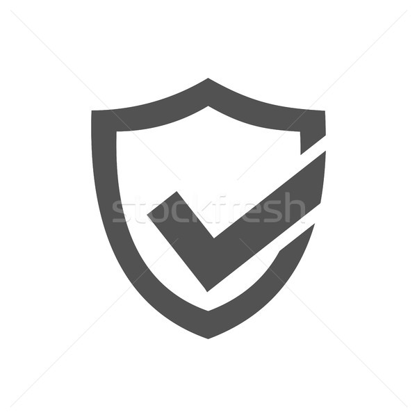 Photo stock: Actif · protection · bouclier · icône · blanche · design