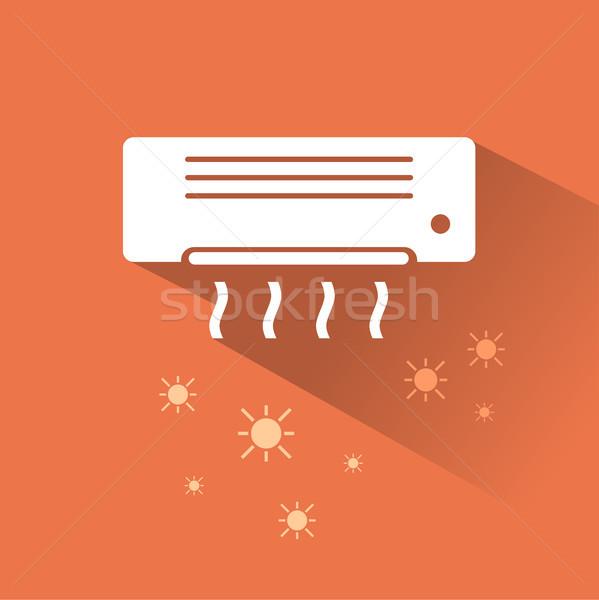 Klimatyzator ogrzewania ikona ściany technologii lata Zdjęcia stock © Imaagio