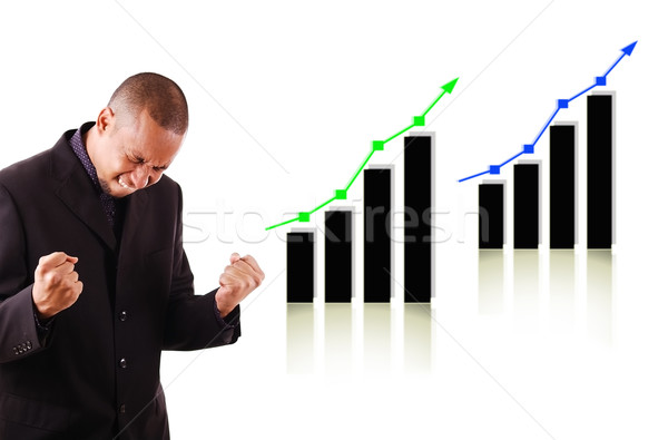 Happy business man with two rising graphs Stock photo © Imabase