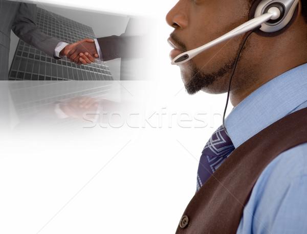 Comunicação negócio imagem empresário microfone fone Foto stock © Imabase