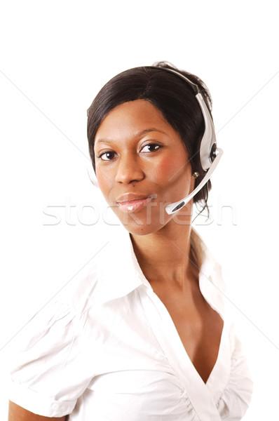 Amigável imagem feminino chamar operador lata Foto stock © Imabase