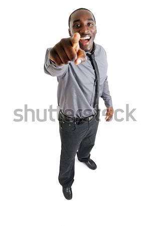 деловой человек смеясь указывая изображение человека счастливым Сток-фото © Imabase