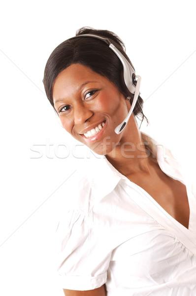 Dostça görüntü kadın çağrı operatör can Stok fotoğraf © Imabase