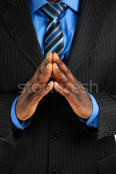 Homem de negócios mãos juntos imagem mostrar confiança Foto stock © Imabase