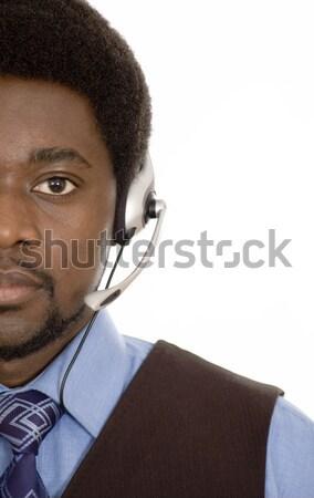 Yakın iletişim görüntü adam mikrofon kulaklık Stok fotoğraf © Imabase