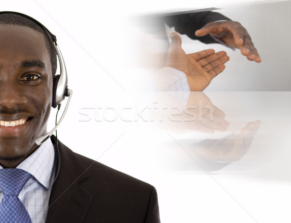 Iletişim anlaşma görüntü adam mikrofon kulaklık Stok fotoğraf © Imabase