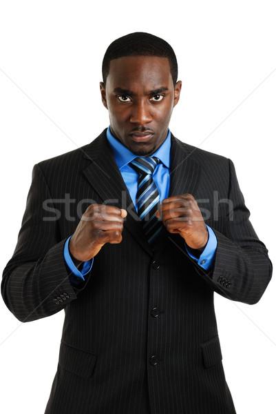 Iş adamı poz yumruk görüntü hazır adam Stok fotoğraf © Imabase