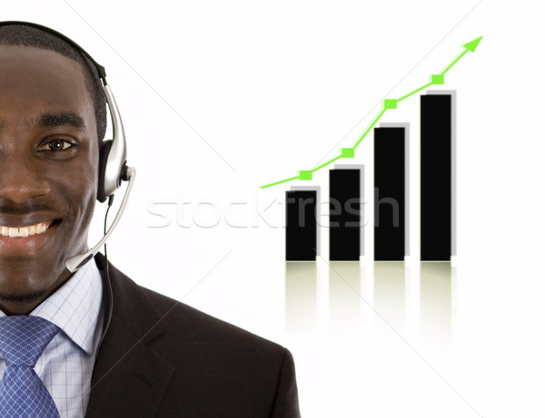 Business support man with rising graph Stock photo © Imabase