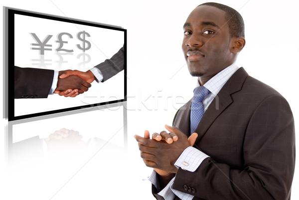 Negócio sucesso imagem homem de negócios sorridente bem sucedido Foto stock © Imabase