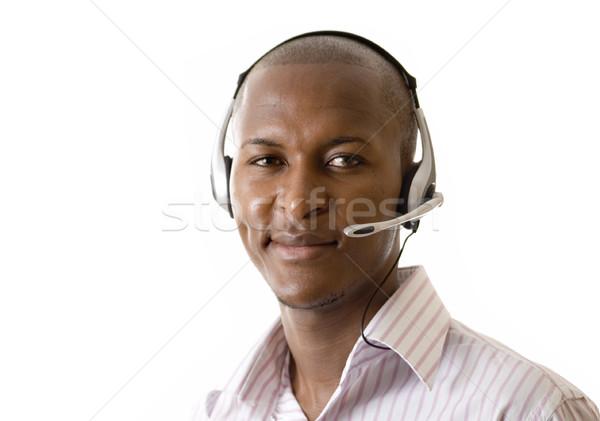 Iletişim yardım hattı görüntü adam mikrofon kulaklık Stok fotoğraf © Imabase