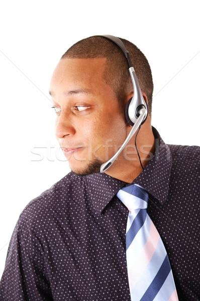 Serviço imagem homem microfone fone lata Foto stock © Imabase