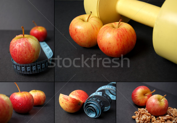 Montage of dieting concepts - Apples Stock photo © Imabase