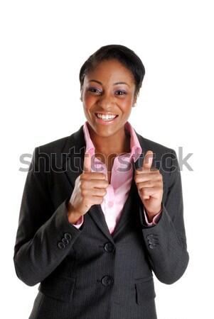 Iş kadını mutlu görüntü imzalamak siyah Stok fotoğraf © Imabase