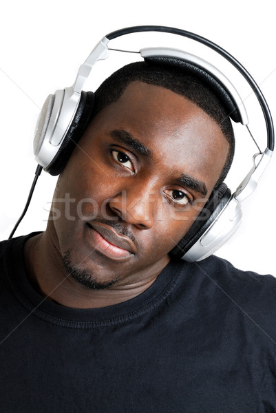 Genç müzik kulaklık görüntü adam siyah Stok fotoğraf © Imabase