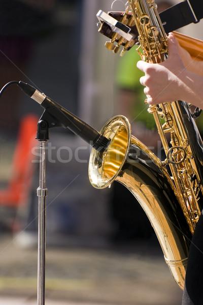 Oynamak müzisyen oynama caz saksofon yaşamak Stok fotoğraf © Imagecom