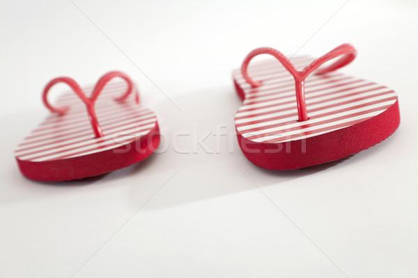 çift kırmızı beyaz plaj bahar moda Stok fotoğraf © Imagecom