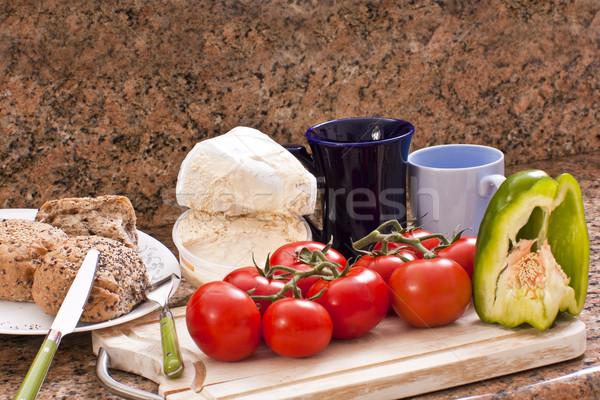 Gıda kahvaltı hazır kırmızı domates Stok fotoğraf © Imagecom