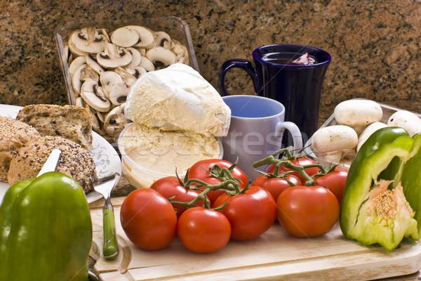 Malzemeler sebze pişirme mavi ekmek çay Stok fotoğraf © Imagecom
