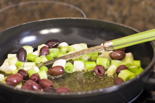 Gurme pişirme tava mutfak yağ siyah Stok fotoğraf © Imagecom