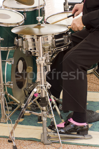 Davulcu oynama davul Metal erkekler konser Stok fotoğraf © Imagecom