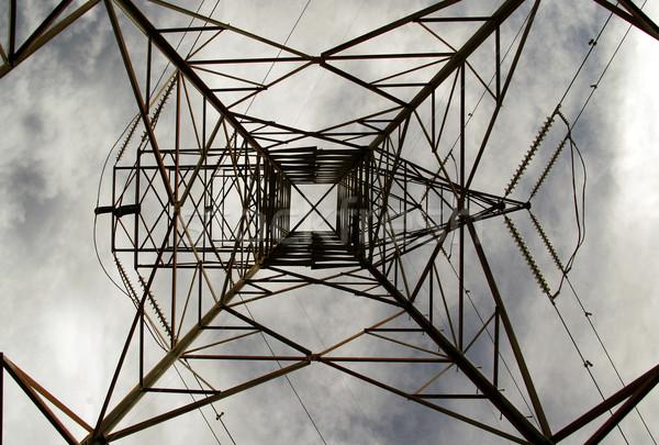 Elektrik güç hat gri gökyüzü bulutlar Stok fotoğraf © Imagecom