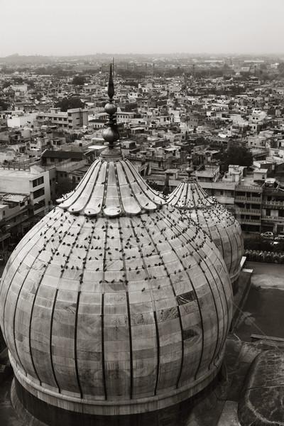 Moskee stadsgezicht Delhi Indië hemel stad Stockfoto © imagedb