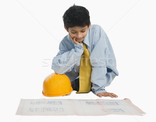 Garçon architecte travail plan papier enfant Photo stock © imagedb
