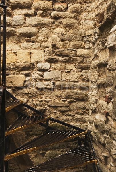 Lépcsőház kőfal fal Anglia lépcső sarok Stock fotó © imagedb