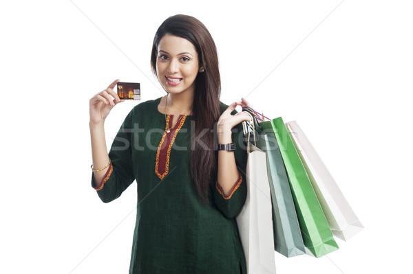 Portret gelukkig vrouw creditcard Stockfoto © imagedb