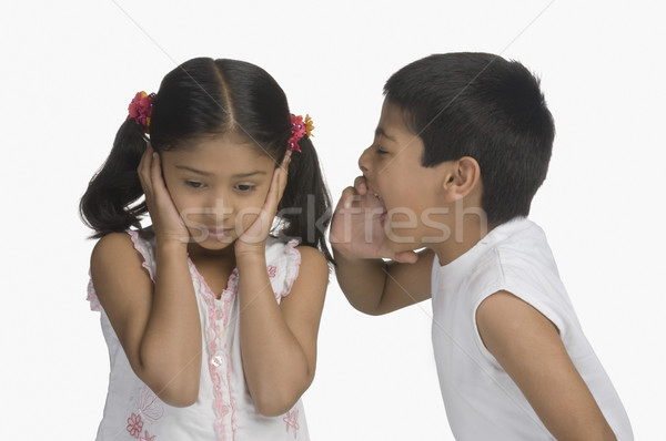 Meisje oren broer kinderen kinderen Stockfoto © imagedb