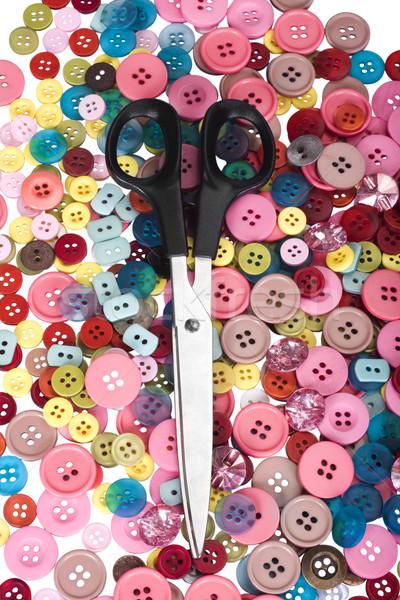 Nożyczki przyciski grupy przycisk plastikowe Zdjęcia stock © imagedb