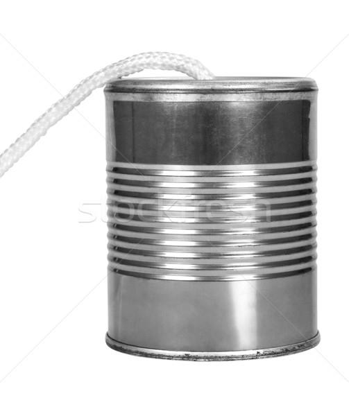 Közelkép konzervdoboz konzerv telefon játék kapcsolat Stock fotó © imagedb