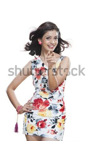 Portre güzel genç kadın poz kadın moda Stok fotoğraf © imagedb