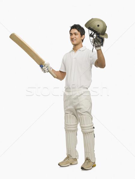 Cricket vieren succes man sport glimlachend Stockfoto © imagedb