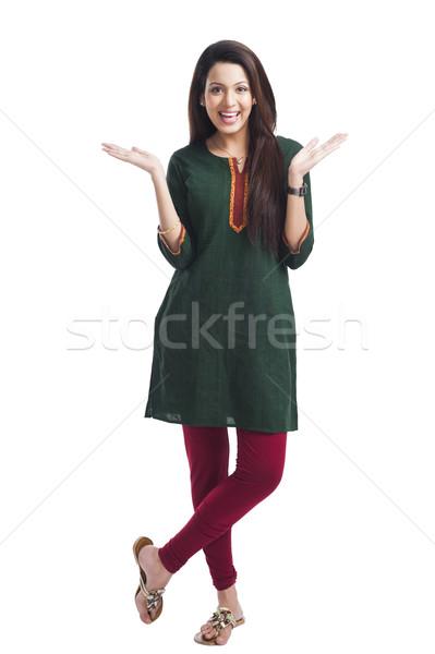Portrait of a happy woman posing Stock photo © imagedb