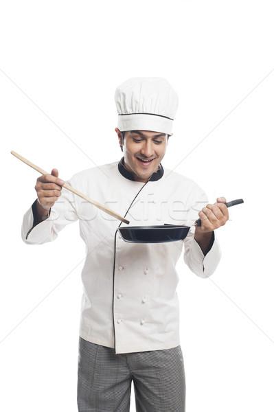 Mannelijke chef koekenpan man jonge Stockfoto © imagedb