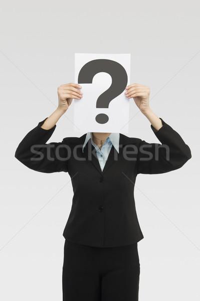 Işkadını kart soru işareti yüz kaza Stok fotoğraf © imagedb