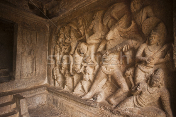 Bas Relief depicting conflict of Durga with Mahishasura at Mahishasuramardhini Mandapam, Mahabalipur Stock photo © imagedb
