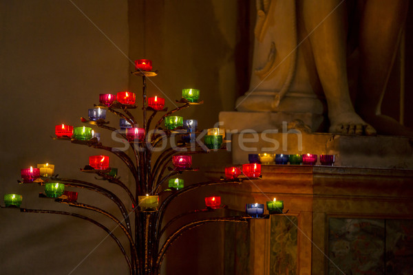 Candle stick tree in the church Stock photo © imagedb