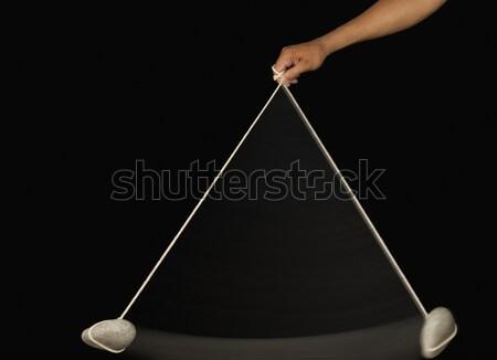 Hand steen slinger onderwijs Stockfoto © imagedb