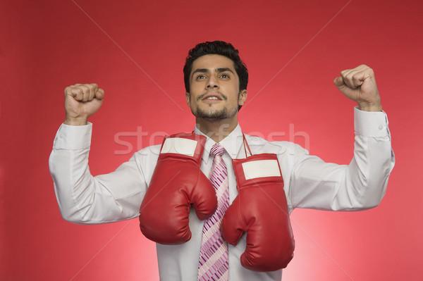 Imprenditore guantoni da boxe uomo sport successo protezione Foto d'archivio © imagedb