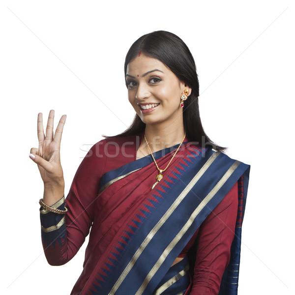 Tradicionalmente indiano mulher retrato comunicação Foto stock © imagedb