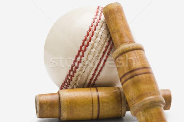 Primer plano cricket pelota madera nuevos fotografía Foto stock © imagedb