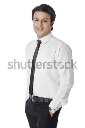 Ritratto imprenditore sorridere uomo giovani cravatta Foto d'archivio © imagedb