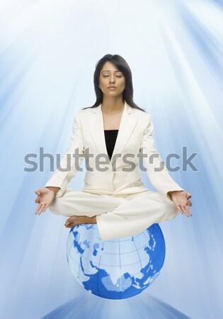 Femme d'affaires méditer monde femme beauté yoga Photo stock © imagedb