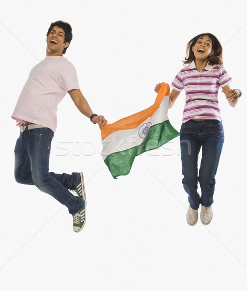 ストックフォト: カップル · インド · フラグ · ジャンプ · 喜び