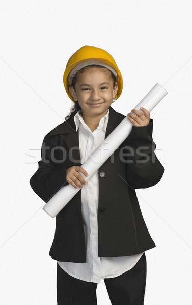 Kız mimar planı gülen güvenlik Stok fotoğraf © imagedb