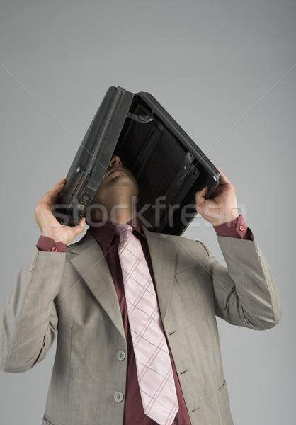 Biznesmen teczki głowie działalności stres Zdjęcia stock © imagedb